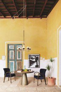 inrednings detaljer gul vägg