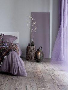 linne sängkläder lila