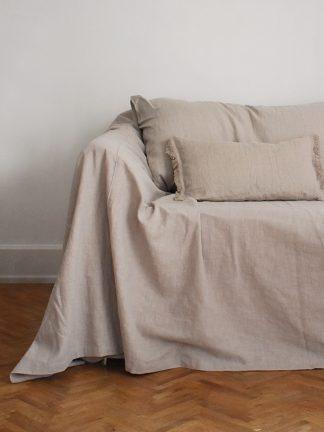 sofföverdrag linne Beige