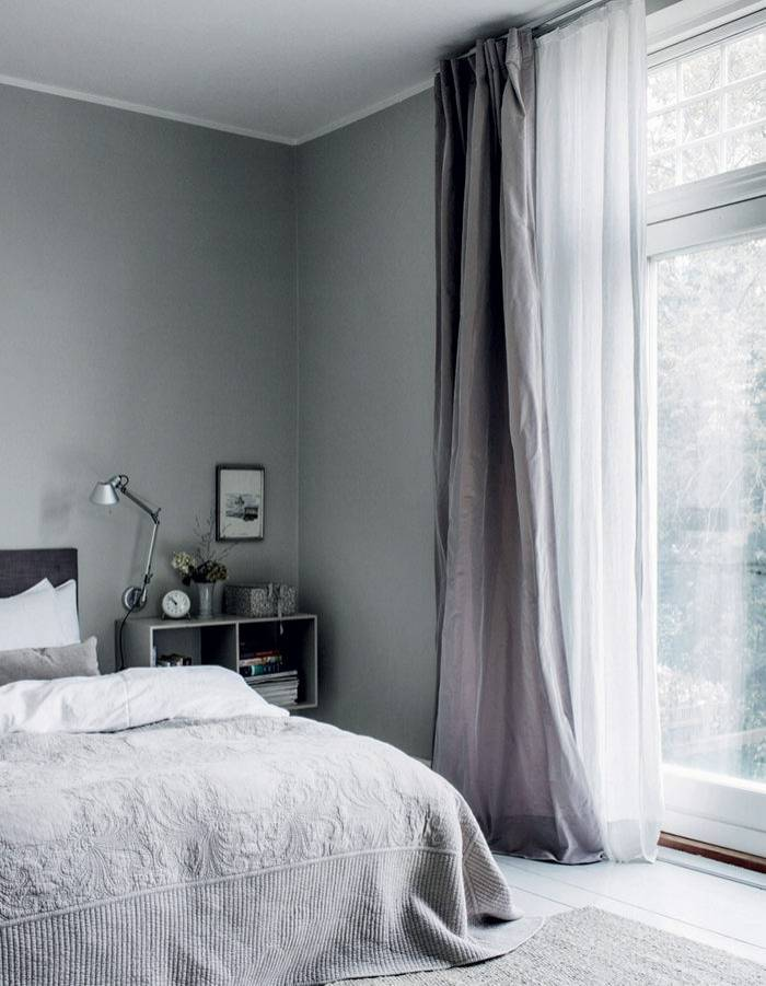 linnegardiner sovrummet grå