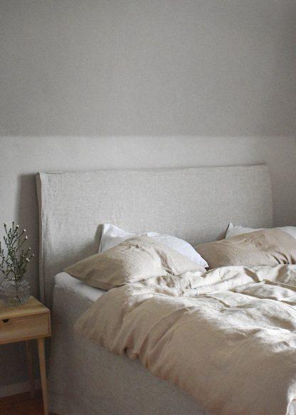 linne sänggavel beige linnetyg